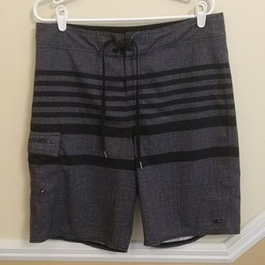 O'Neill Charcoal Striped Board Shorts size 33